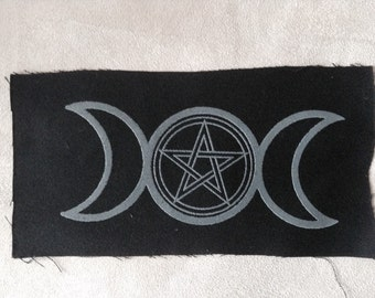 Triple Moon Goddess hand screen printed patch