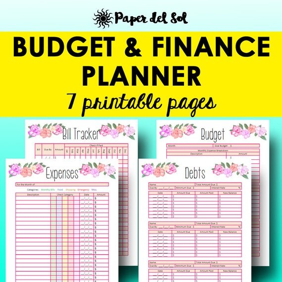 Monthly Budget Planner Book Finance Planner Worksheets – Personal Financial Planning Worksheets