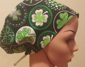 Women's Surgical Cap, Scrub Hat, Chemo Cap, Luck of the Irish