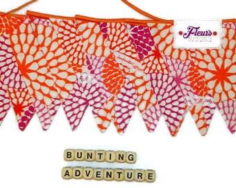 Bunting, Flags, Banner, Garland, Bright Orange Pink Print, Bithday Decor, Party Decor,