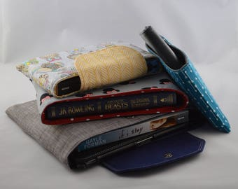 Book Sleeve and Tablet case PDF Sewing Pattern - 4 sizes, Optional flap and Divider pocket