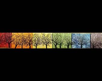 Tree love 6 piece 4 x 6 original acrylic rainbow tree painting