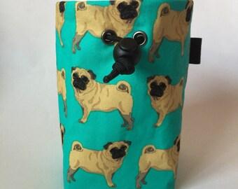 Pug Dog Rock Climbing Chalk bag, Phone Pocket Opt