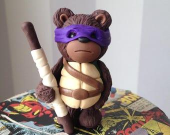 Turtle Comic Con Bear - Polymer clay bear figure dressed in style of Ninja Turtle