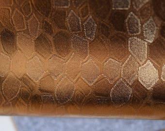 Gold Golden Leather Hide 60 cm x 40 cm 0.6 mm  Italian Genuine Leather Hide Honey comb Design Printed Leather b394