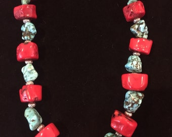 Chunky turquoise & coral necklace with silver accents