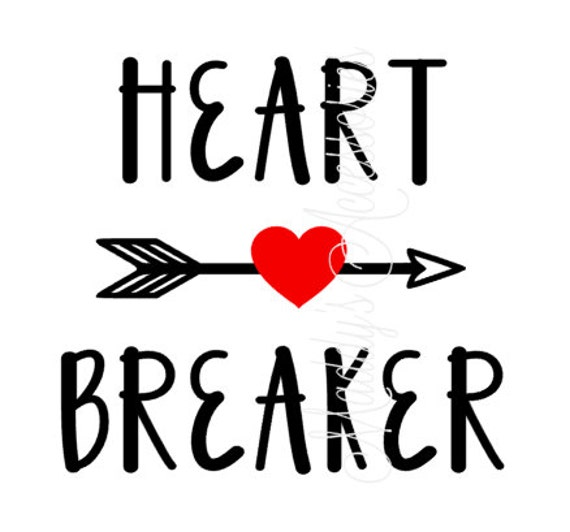 Iron on decal - Heart Breaker - valentines - baby / child clothing accessory