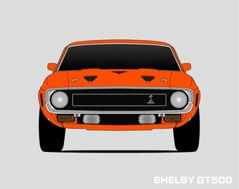 1969 Shelby GT500 Poster // Shelby Cobra // Shelby Mustang // Carroll Shelby // Mustang Print