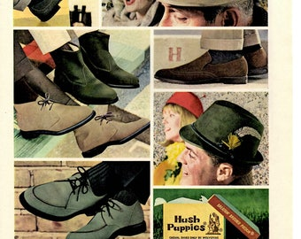 1964 Hush Puppies vintage magazine shoe ad cute dog 1705