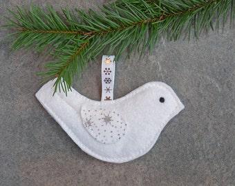 White Felt Hanging Bird Christmas Decoration