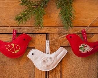 Set of Three Felt Hanging Birds Christmas Decoration