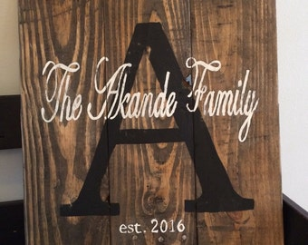 Initial and family name custom wall art