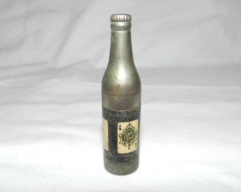Kem Lighter - Vintage metal Bottle shaped cigarette lighter with Aces around the bottle - Kem Co. Detroit, Mich. Made in U.S.A.        23-61