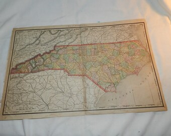 North Carolina Map from 1892 New Popular Atlas of the World - 2 Page fold out map - copyright 1888 by Rand McNally - Ready to frame   31-132