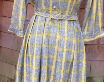1950's plaid wool dress peter pan collar mustard yellow grey black