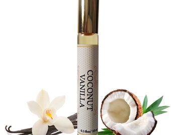 COCONUT Vanilla PERFUME Oil, Organic Coconut Vanilla Roll On, Vegan Perfume, Holiday Gift, Gifts for Him, Birthday Gift