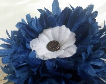 Mini Navy Blue Flower Petal Single Snap Clip Hair Accessory #S014