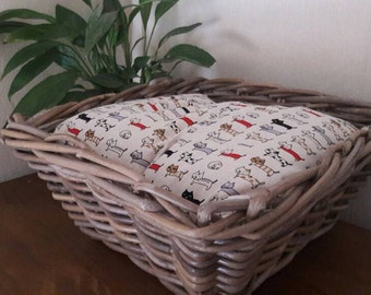 Wicker cat basket / cat bed with cushion - handmade
