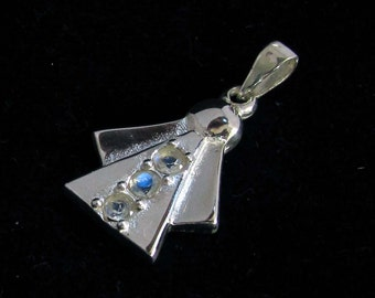 Sterling silver gemstone pendant with 3 blue fire Moonstones