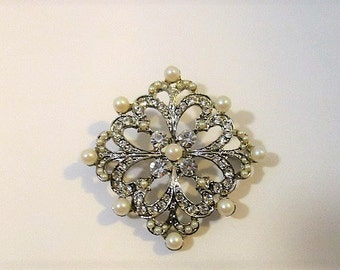 Diamond Shaped Brooch, Vintage Costume Jewelry, Silver Tone Metal, Clear Rhinestones and Faux Pearls, Statement Pin