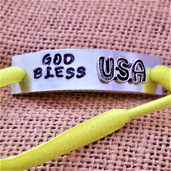 Shoe Lace Tags, Shoelace Charms, Running Jewelry, Shoe Charms, Patriotic Charms, God Bless USA Gift, Sports Shoe Tags, Motivational Gifts