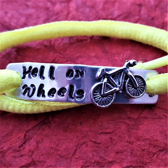 Shoe Lace Tags, Bicycle Shoe Charm, Shoelace Tags, Bike Team Gifts, Biking Jewelry, Hell on Wheels Gifts, Sports Jewelry, Motivational Gifts
