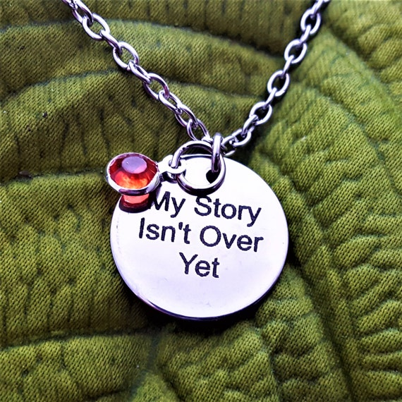 Suicide Prevention Logo, My Story Isn't Over Yet, Faith Charm Necklace, Semicolon Project Jewelry, Christian Jewelry, Inspirational Gifts