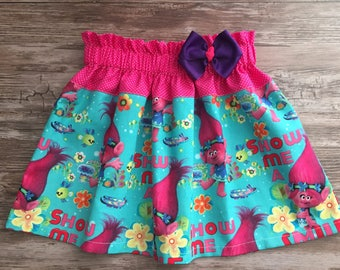 Trolls Girl Skirt, Skirt with Trolls Girl, Poppy Troll Skirt , Poppy Skirt