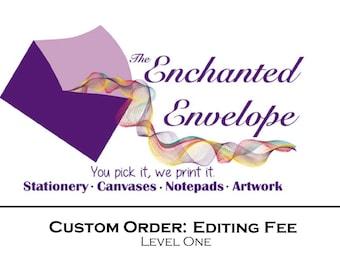 Editing Fee, Editing Charge, Design Work, Resizing Charge, Resizing Fee, Custom Editing, Design Work Fee, Print Ready Fee