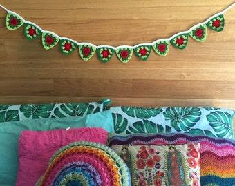 Handmade crochet christmas flag bunting
