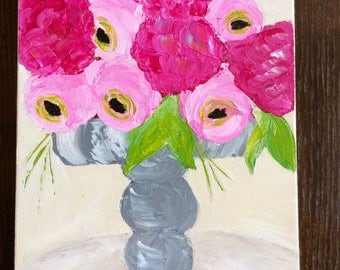 Pink Peonies and Hydrangea in a Vase