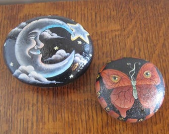 Painted Rocks, Yard Art Painted Rocks, Set of 2 Painted Rocks