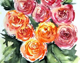 PRINT (8x10) of  Orange and pink impressionistic roses, Watercolor Painting, rose Painting, Watercolor roses