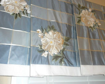 New Custom Board mounted pleated Valance Beacon Hill hand embroidered silk FLORAL BEADS blue white colors