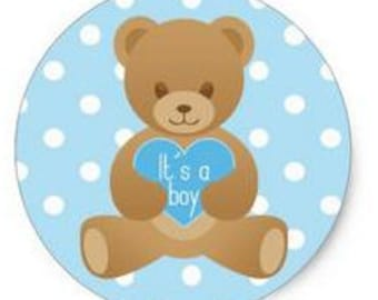 Teddy bear sticker blue and pink