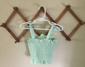 Green Smocked Crop Top