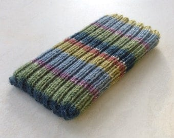 Knitted iPhone sock for 7, 6 or 6S, smartphone cover case, green, blue, gold