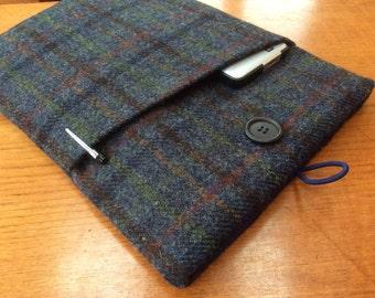 "Harris tweed MacBook 13"" Pro Air cover case, laptop sleeve, blue check plaid"