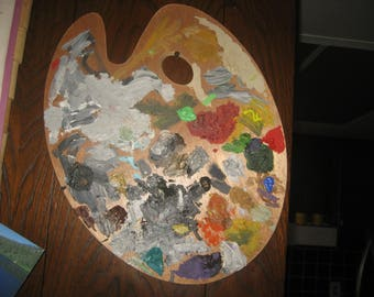 Used Artist's Palette/Wall Hanging for Art Studio/ Large 15 inch Wood Artist Palette