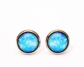 Tiny Stud Earrings Kaleidoscopic, Glitter Stud Earrings,Blue Small Stud, Glass Stud, Glitter Stud, Christmas Gift, Gift for Her, Blue White