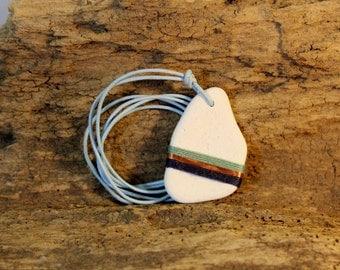 Scottish sea pottery handmade pendant - upcycled gift for her - upcycled necklace - ecofashion - blue & copper beach pottery - elegant