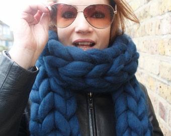 Giant Wool Scarf, Chunky knit scarf, Chunky Big scarf, Long scarf, Wool scarf, Merino wool scarf, Knitted scarf, Knitting, Unspun wool