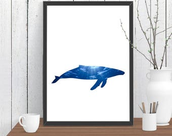 Blue Whale Print, Nautical Print, Animal, Room Decor, Ocean, Wildlife, Minimalist, Poster, Child Baby Nursery 4 A3 A2 8x10 11x14 12x18 16x20