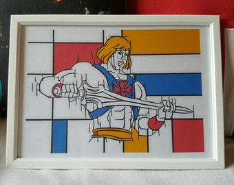 He Man Pop Art and Mondrian inspired A4 print (framed)