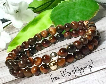 Red Tigers Eye Beaded Bracelet, Beaded Bracelets for Women, Bead Bracelet Women, Womens, Silver, Gold, DreamCuff, Free Shipping Jewelry