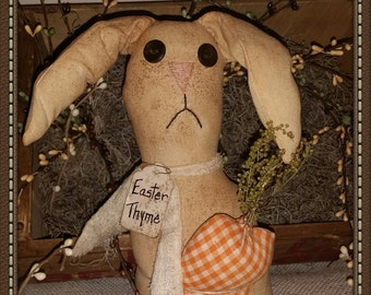 primitive posable bunny with carrot, OFG, FAAP, prim Easter decor, Spring decor, grungy bunny,