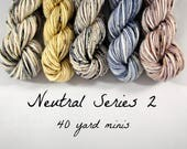 5 Sock Mini Skein Set- 40 yards each- Neutral Series 2
