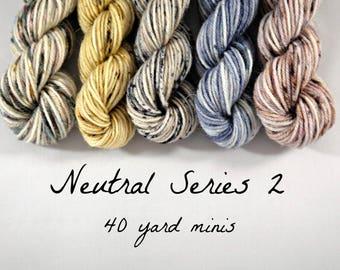 5 Sock Mini Skein Set- 40 yards each- Neutral Series 2