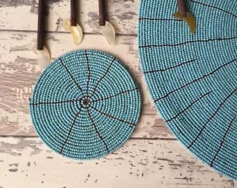 Turquoise Beaded Coaster