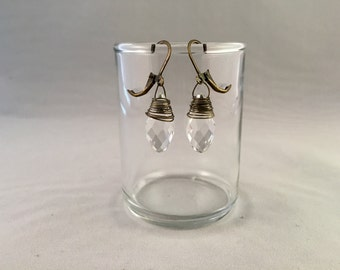 Crystal clear faceted earrings
